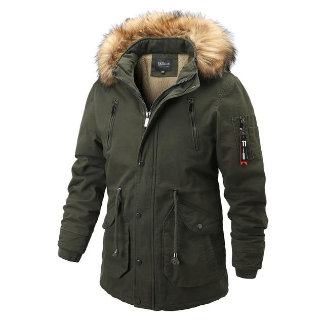Куртка парка мужская со съёмным капюшоном тёплая подкладка мех на капюшоне 6