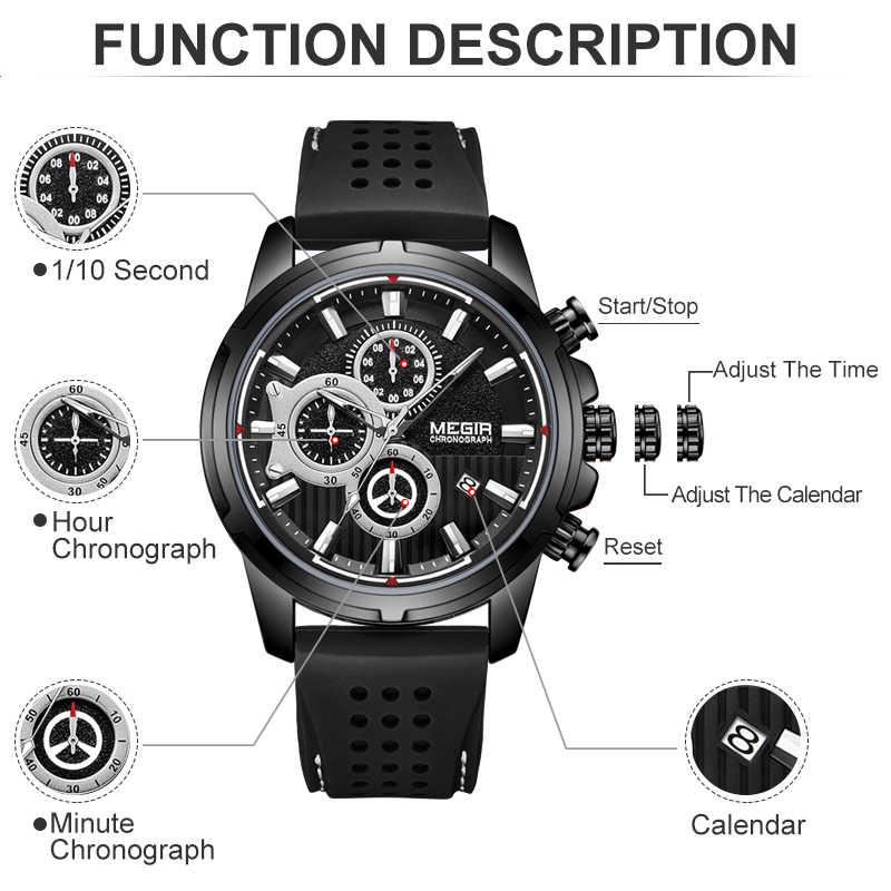 MEGIR Top marque hommes mode noir Silicone étanche Sport montres à Quartz hommes luxe affaires montre-bracelet Relogio Masculino