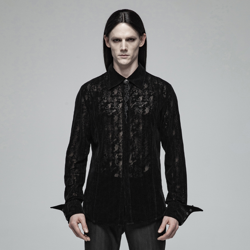 PUNKRAVE Men's Gothic Lace Flocking Shirt Victoria Embroidery Party Evening Dinner Long Sleeve Blouses