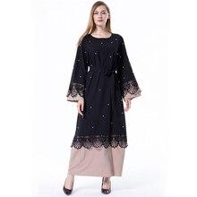 Мусульманское платье для женщин, абайя, мусульманское, арабское, абайя s, макси, пакистанское, Moslim, Jurken, длинные платья, черное, плюс размер, кружево, пэчворк