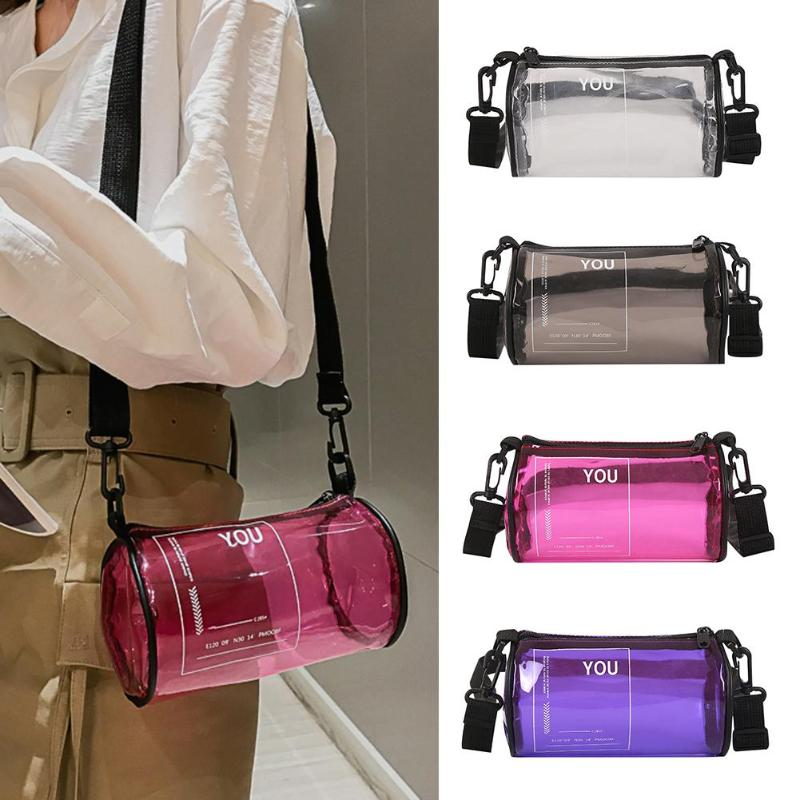 Transparent PVC Printed Letters Cylinder Designer Shoulder Bag Clear Jelly Beach Bags For Women Candy Messenger Crossbody Bags