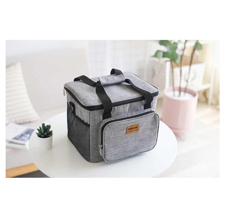 17L bolsa enfriadora portátil caja de Picnic térmica bolsa de comida aislada bolsa de entrega latas de hielo fresco bolsa de aislamiento de vehículo