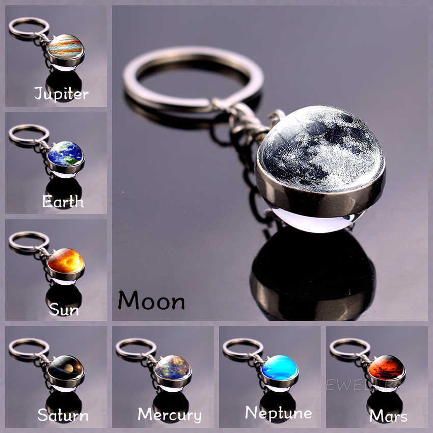 Moon Keychain พลังงานแสงอาทิตย์ระบบ Planet Keyrings เนบิวลา Galaxy Space Universe Earth Sun Mars JUPITER Saturn DOUBLE SIDE Glass Ball