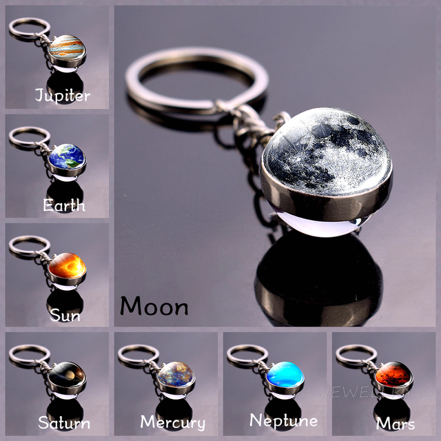 Moon Keychain Solar System Planet Keyrings Galaxy Nebula Space Universe Earth Sun Mars Jupiter Saturn Double Side Glass Ball