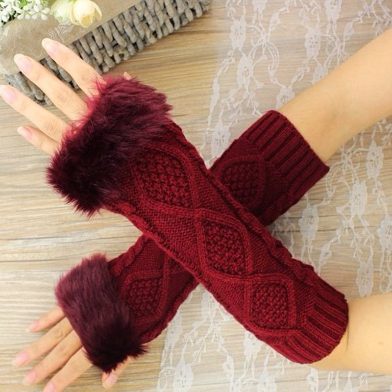 Autumn Winter Women's Warmth Knitted Arm Fingerless Gloves Long Winter Hand Arm Warmer Faux Rabbit Fur Female Gloves Mittens