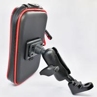 Universal Motorcycle Scooter Rear View Mirror Mount Cell Phone Holder Stand with Waterproof Zipper Case for Smart Phones