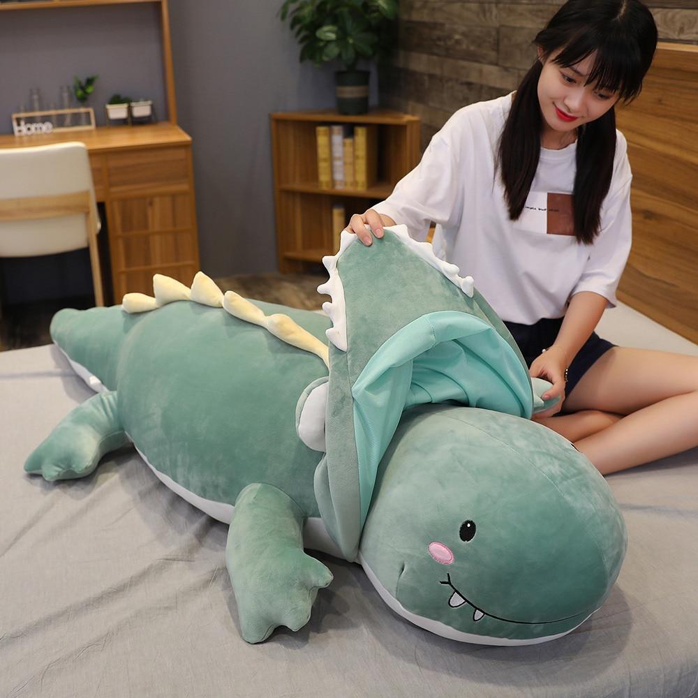 100/120cm Giant Dinosaur Turn To Crocodile Animal Stuffed Plush Toys Cute Soft Cartoon Dragon Doll Sleep Pillow Birthday Gifts