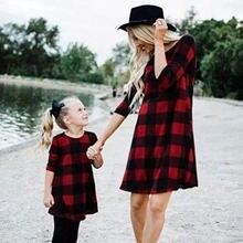 Повседневные платья для мамы и дочки с круглым вырезом семейная