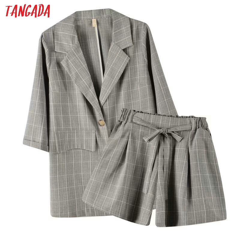 Tangada 2020 Summer Women Plaid Print Blazer Shorts Set Suit 2 Piece Set Blazer And Shorts High Quality 8X03