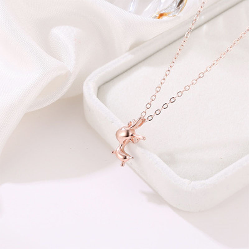 2019 Fashion Deer Necklace Simple Rose Gold Clavicle Chain Pendant Christmas Gift Elk Necklace For Women Jewelry Wholesale WD427 in Chain Necklaces from Jewelry Accessories