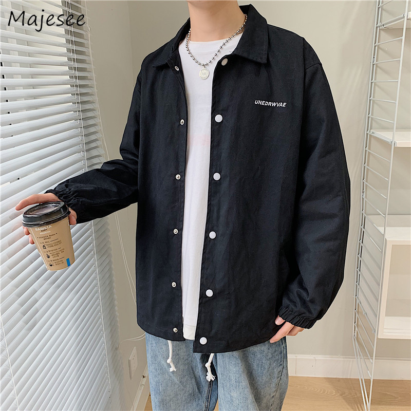 Jacket Men Streetwear Letter Plus Size All Match Mens Jackets And Coats Black Long Coat Single Breasted Casual Harajuku Clothes
