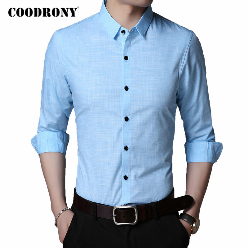 COODRONY Brand Long Sleeve Shirt Men 2020 Spring Autumn Mens Business Casual Shirts High Quality Soft Cotton Chemise Homme C6024