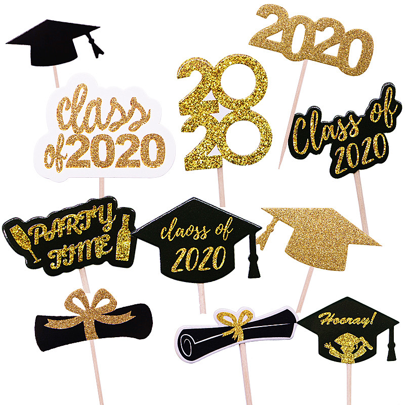 Graduation Party Decor Supplies Glitter Gold Bachelor Cap Cake Topper Class Of 2020 Cupcake Topppers Congraduats Grad Balloons