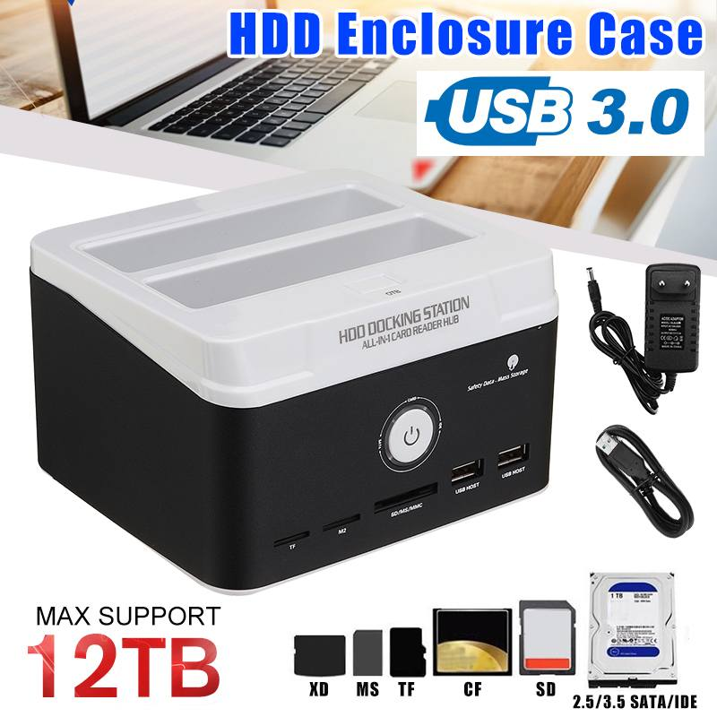 All in one HDD Docking Station for 2.5 Inch 3.5 Inch IDE/SATA USB 3.0 Dual HDD Enclosure Internal Hard Disk Drive Multiple Bay