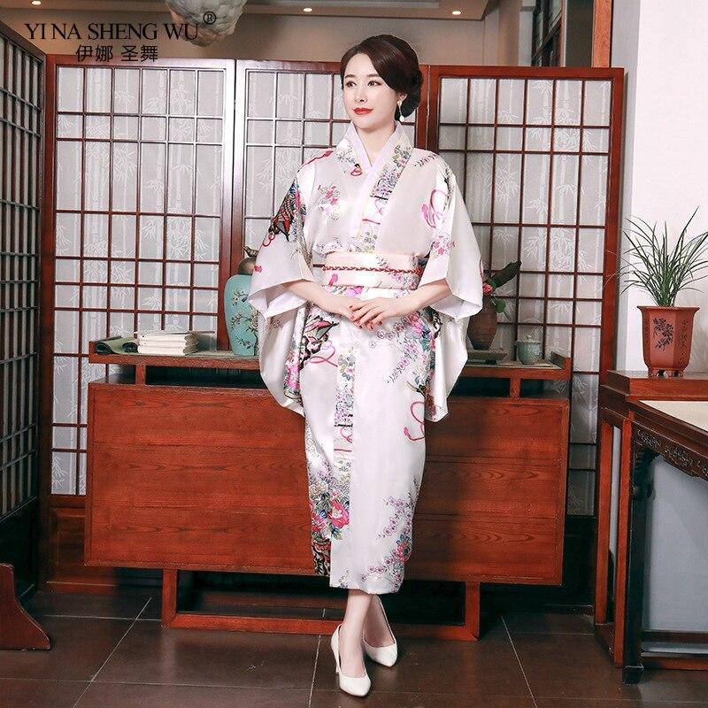 Yukata Women Japanese Kimono Traditional Bathing Robe Sexy Female Floral Print Kimono Evening New Dress Cosplay Costumes