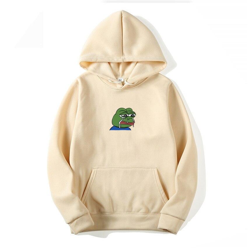 Sad Frog Print Fashion Hoodies Women/Men Casual Hip Hop Japan Harajuku Sweatshirt Winter Fleece Kept Warm Funny Pullover Hoody