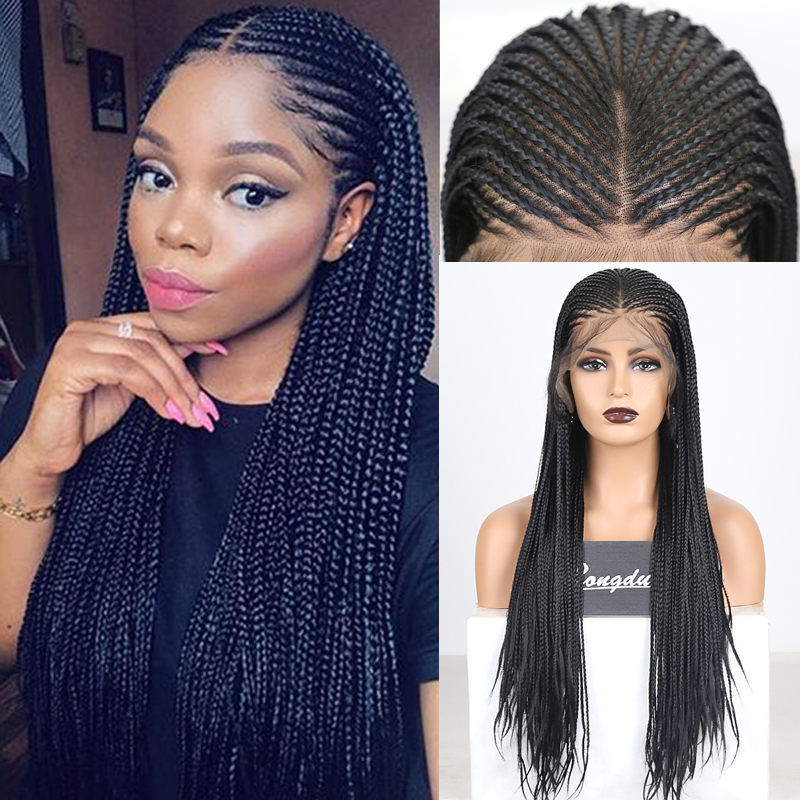 RONGDUOYI Long Braided Box Braids Wig Black Hair Synthetic Lace Front Wigs For Women Heat Resistant Fiber Hair 13X6 Lace Wig