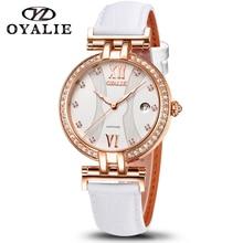 นาฬิกาผู้หญิงSapphireควอตซ์คุณภาพสูง 34 มม.สแตนเลสหนังกันน้ำผู้หญิงนาฬิกาข้อมือ