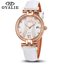 Women Watches Sapphire Quartz Movement High Quality 34mm Stainless Steel Waterproof Leather Strap Ladies Wristwatch