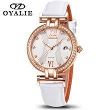 Zegarki damskie szafirowy mechanizm kwarcowy wysokiej jakości 34mm ze stali nierdzewnej wodoodporny skórzany pasek damski zegarek