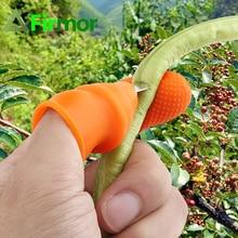 FIRMOR 1 ชุดสวนซิลิโคน Thumb มีด Finger Protector ผักการรวบรวมมีดพืชใบมีดตัดแหวนสวนถุงมือ