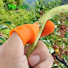 FIRMOR 1set Gardening Silicone Thumb Knife Finger Protector Vegetable Harvesting Knife Plant Cutting Blade Rings Garden Gloves