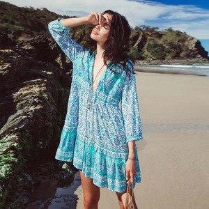 Летнее свободное женское платье с цифровым принтом, сексуальное пляжное платье с глубоким v-образным вырезом и оборками, женские туники, каф...