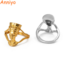 Anniyo Egyptian Queen Nefertiti Ring for Women Girls African Finger Ring Jewelry Gold