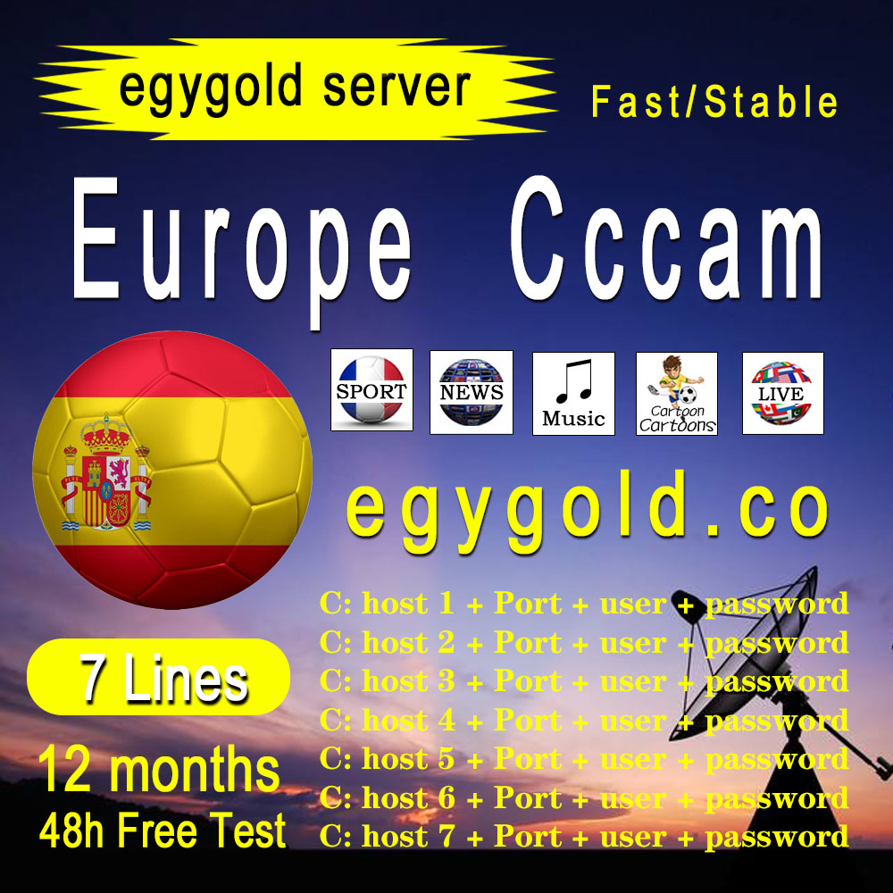 Cam europa para 24 meses, españa, código egygold, receptor de cam cines, televisão por satélite, 7 líneas, wifi, completo 2021