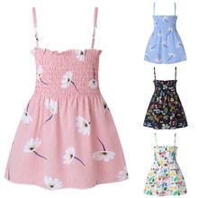 12m 5y baby girl ruffle fly sleeve linen dress new kids girls solid dresses button falbala princess party tops clothes vestido Dress 2020 Summer Baby Girl Clothes Princess Dresses Floral Sunflower Beach Party Casual Dress Toddler Girl Clothes 12M-5Y