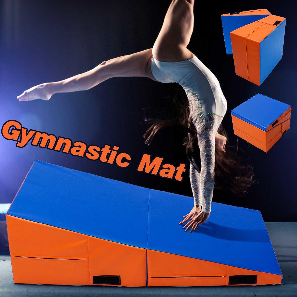 Incline Foldable Gymnastics Mat PU Foam Filling Skill Tumbling Gymnastics Mat Ramp Fitness Equipment 3 Sizes  Safe Exercise