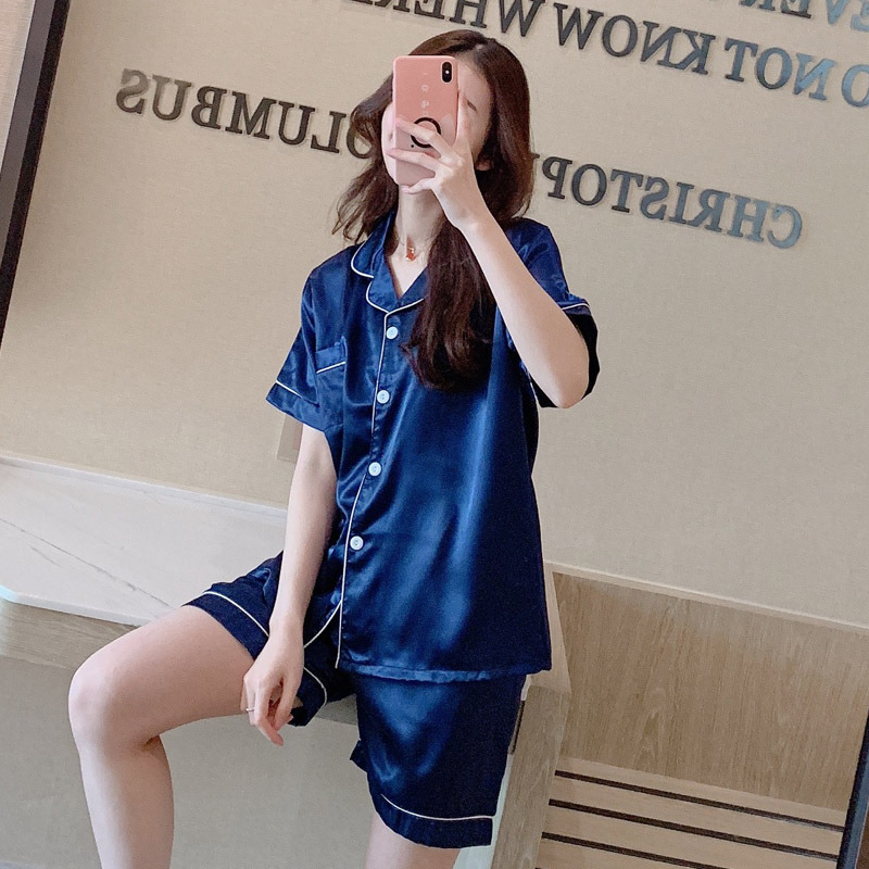 Viscose Pajamas WOMEN'S Short Sleeved Shorts Summer Silk Homewear Set-Cardigan-Outer Wear Imitated Silk Fabric