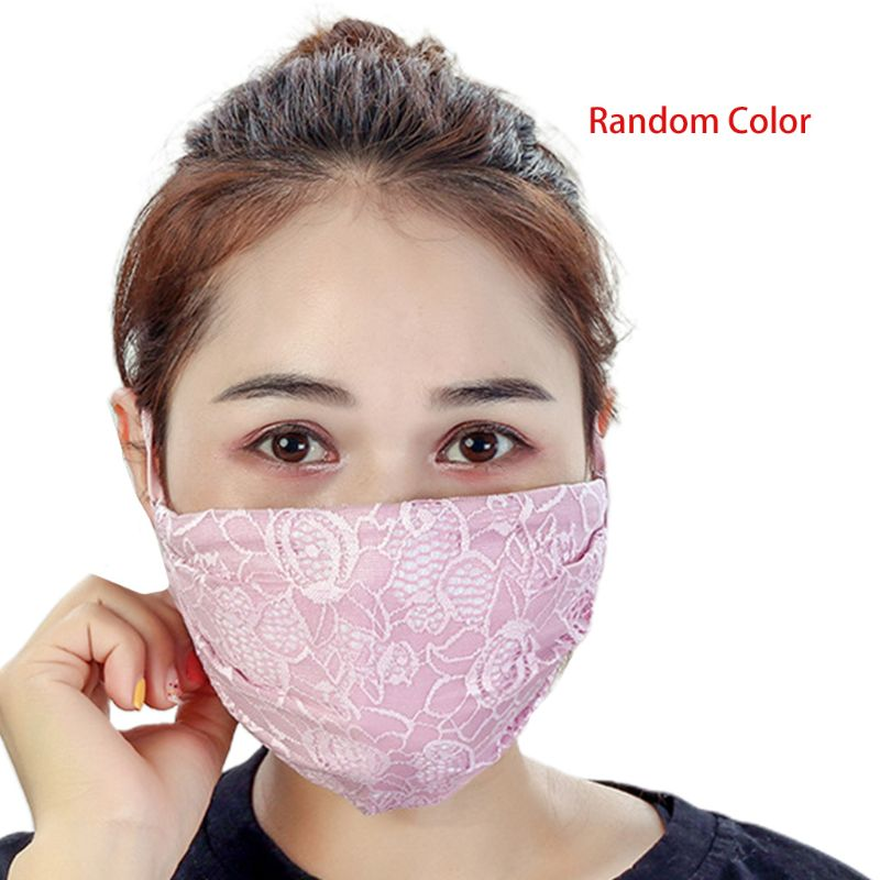 Women Crochet Floral Lace Winter Warm Mouth Mask Anti Dust Windproof Respirator A69C