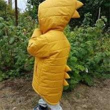 Симпатичное однотонное пальто на молнии с длинными рукавами для маленьких мальчиков и девочек зимняя теплая куртка Верхняя одежда с объемным динозавром повседневные топы