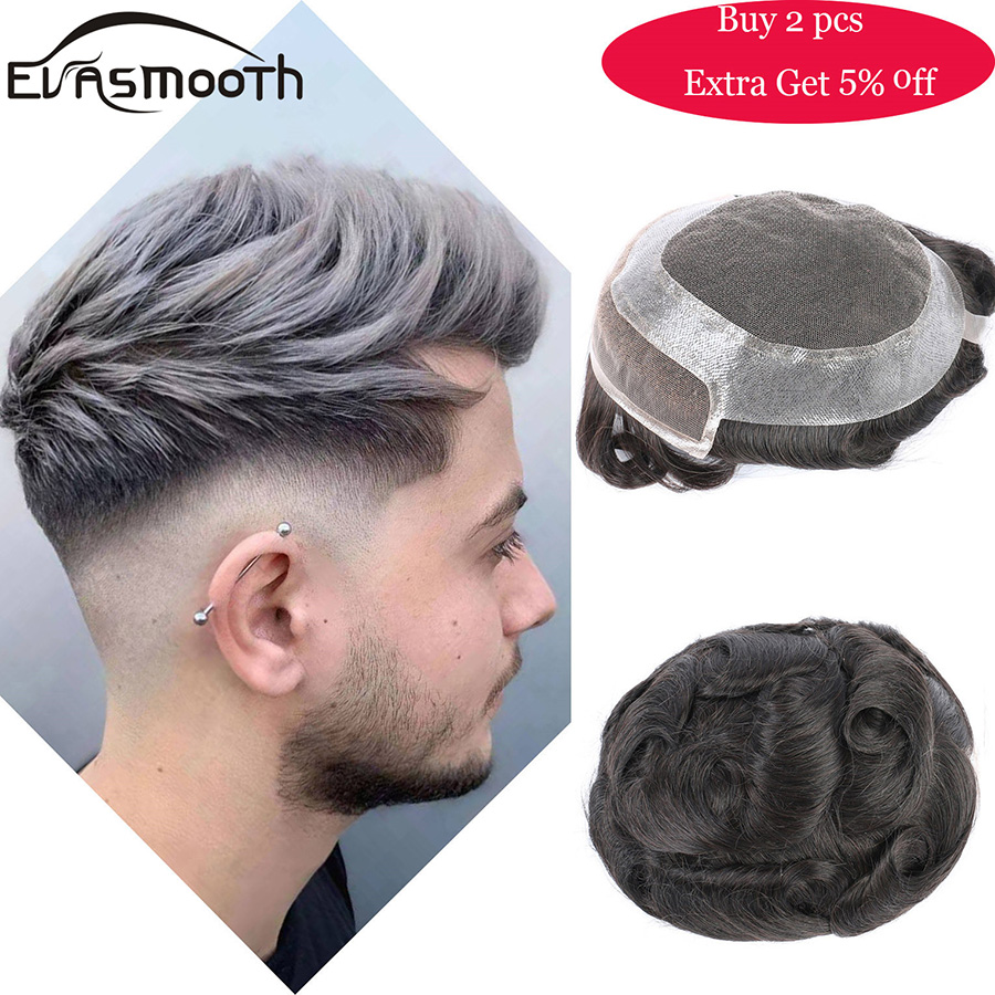 2020 Fashion Men Toupee Real Natural Human Hair Wig Cut Hair Topper Male Wig Indian Hair SystemPu Lace Front Wig Hair Extension