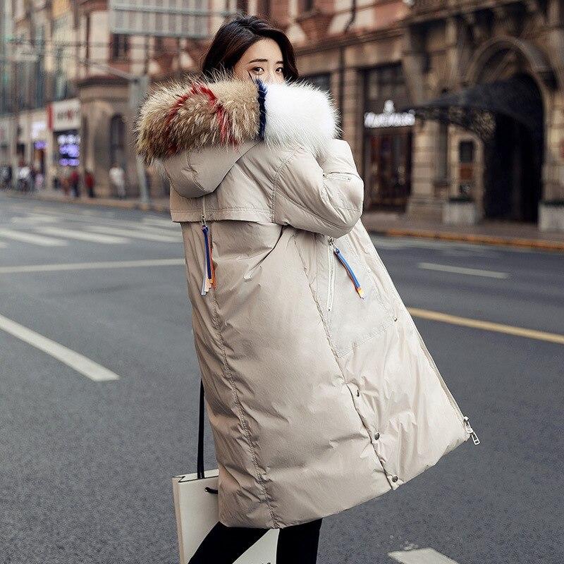 Women's Down Jacket Long Winter Coat High Quality Women Fashion 2020 Korean Loose Fur Collar Jaqueta Feminina KJ490
