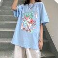 Футболки с японским мультяшным кавайным аниме, 100% хлопок, повседневная женская футболка Ulzzang с коротким рукавом, Винтажная футболка в стиле ...