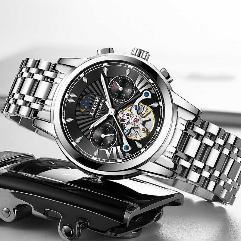 2020 Luik Fashoin Heren Horloges Top Brand Luxe Automatische Mechanische Tourbillon Horloge Mannen Roestvrij Staal Waterdichte Horloge