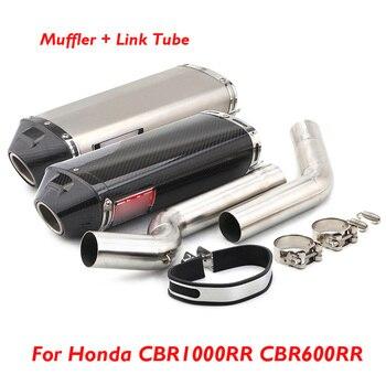 цена на Motorcycle Slip on Exhaust Tip Muffler Connector Tube Pipe Exhaust System for Honda CBR600RR 2005-2018 CBR1000RR 2004-2007