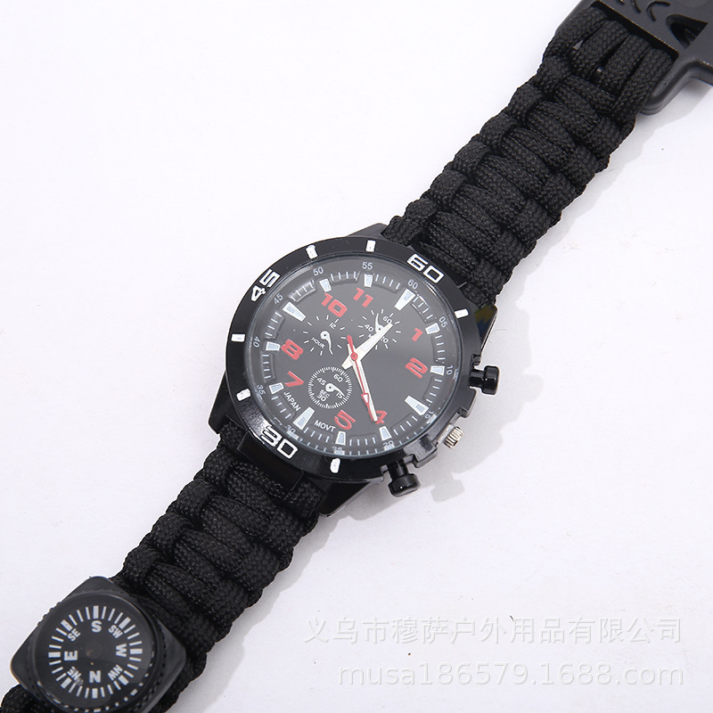 Outdoor Watch Scattered Lanyard Weaving Survival Firestone Compass Watch Bracelet Watch Camping Boarded Watch