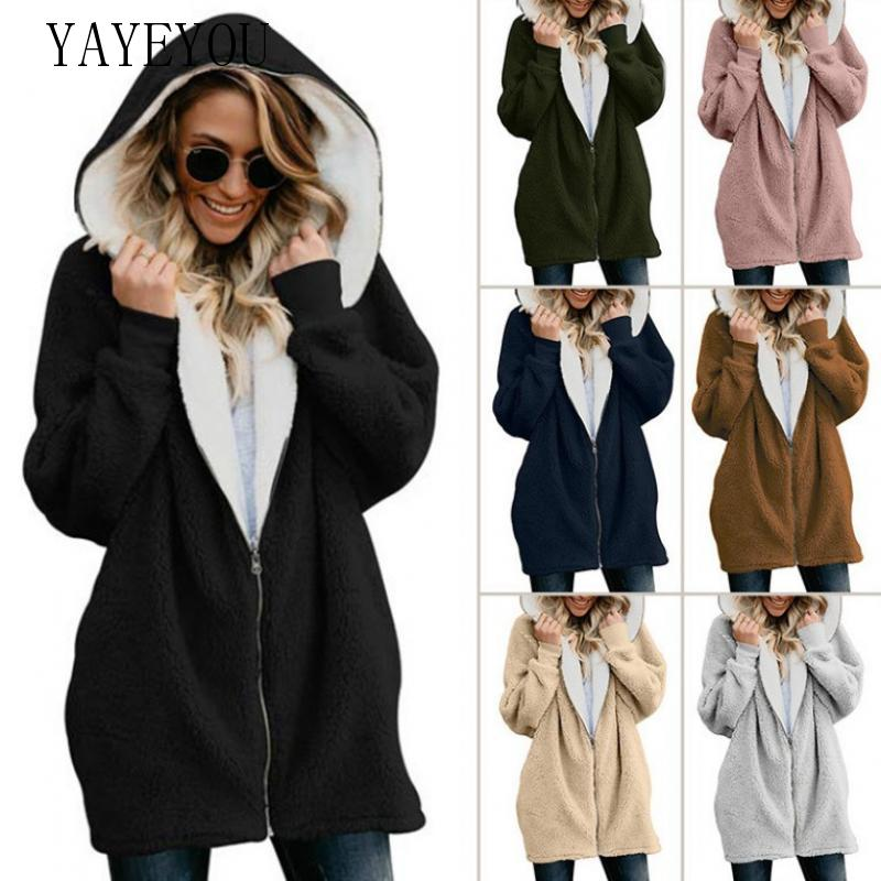 YAYEYOU 2019 Autumn Winter Sweater Women Hooded Cardigan Coat Thick Full Sleeves Plus Size