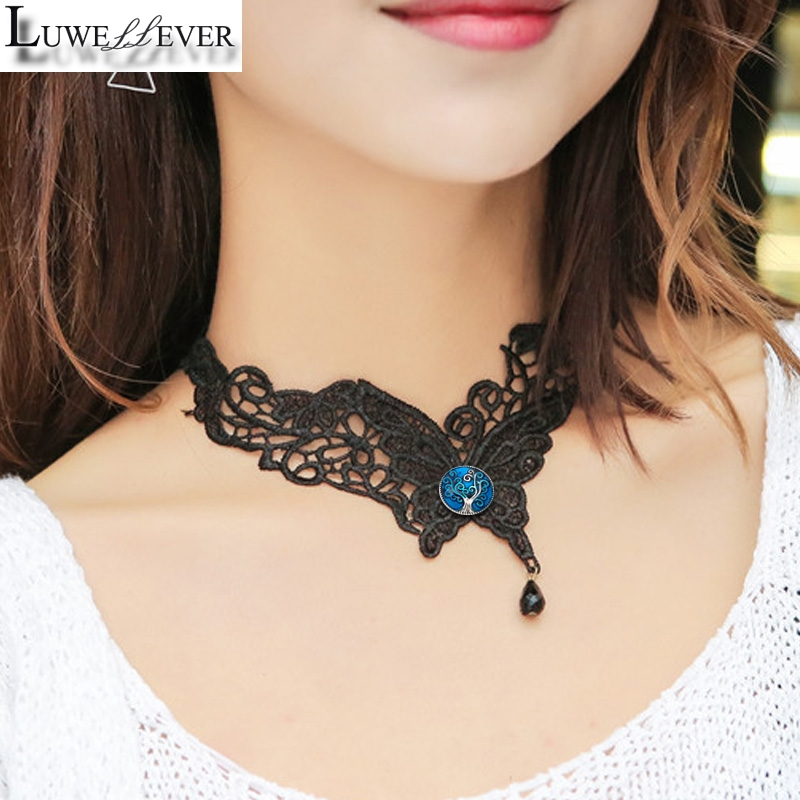 Black Butterfly Lace 003 Necklace 12mm 18mm Snap button Choker Necklace Women Fashion Gothic Choker Handmade Charm Jewelry Gift image
