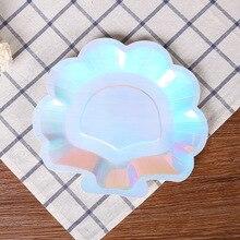 """6 adet Yanardöner Sparkle Shell Kağıt Tabaklar Parti Yemeği Sofra Takımı 9 """"Mermaid Tema Festivali Bebek Duş Düğün Parti malzemeleri"""