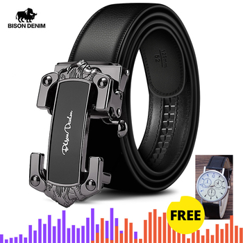BISON DENIM Genuine Leather Men Belt Automatic Alloy Buckle Luxury Soft Cowskin Strap New Designer Waist Male Belt W71539 designer fashion men belts luxury automatic buckle cowskin genuine leather belt for men business black waist male strap zd051