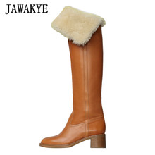 Runway Shoes Long-Boots Chunky Heels Brown Over-The-Knee Black Women Slip-On JAWAKYE