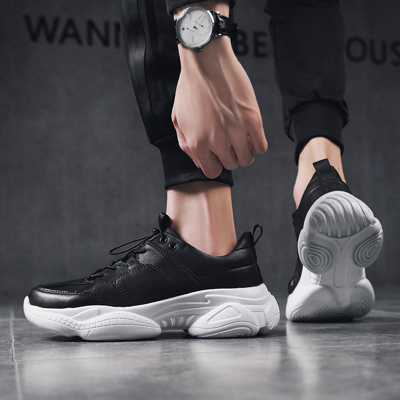 2019 primavera y otoсo nueva moda Zapatos casuales de cuero salvaje aumentar zapatos de suela gruesa tendencia zapatos de hombre