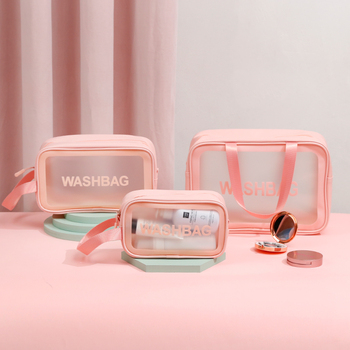 PVC Transparent Makeup Bag Women Travel Organizer Large Capacity Cosmetic Storage Hand Clear Wash Case Neceser large capacity multilayer hook wash bag travel multifunction storage bag polyester accessories cosmetic makeup storage organizer