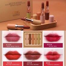 ZHENDUO  5pcs/set matte lipstick set moisturizing lasting makeup non-stick cup beauty make up
