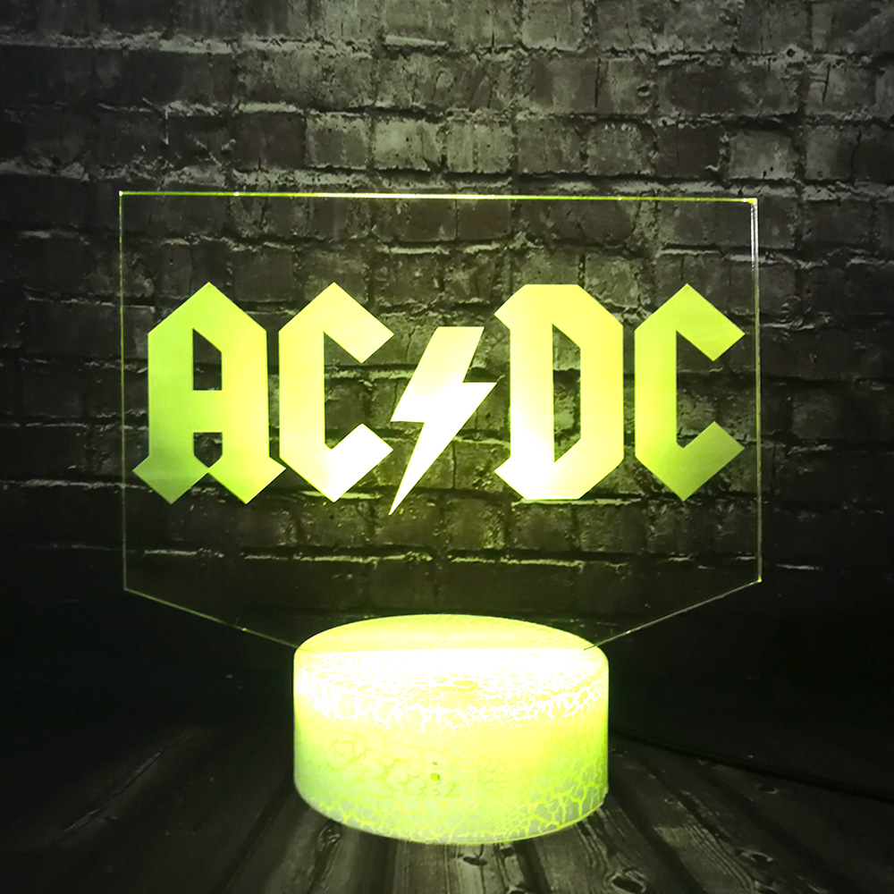 AC/DC Rock Band Musical Logo Cartoon Lamp LED 7 Color Change Decor Boy Room Table Night Light Holiday Music Fans Friend Gift