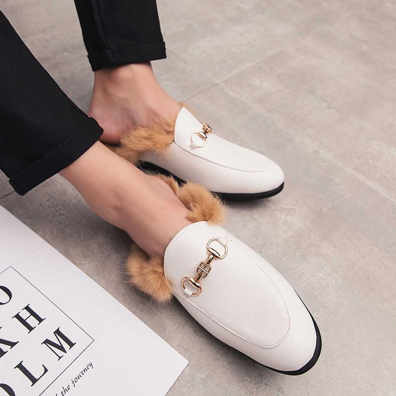 Erkek spor ayakkabı genç kişilik Baotou artı saç yarım ayakkabı erkek ayakkabısı loafer'lar erkek mokasen Tenis Masculino Zapatos De hombre